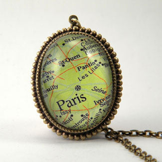 Paris Map Deluxe Pendant Necklace