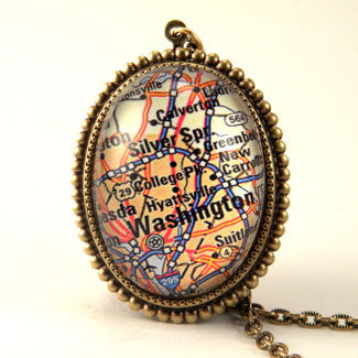 Washington DC Map - A Capitol Idea Deluxe Pendant Necklace