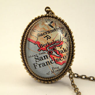 Old San Francisco Map Pendant Necklace