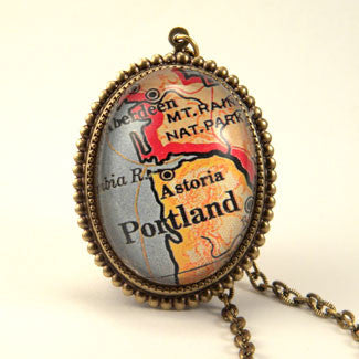 Old Portland Oregon Map - Way Out West Pendant Necklace
