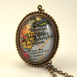 Old Philadelphia Map - Vintage Map Jewelry