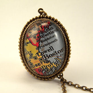Old Boston Vintage Map Pendant Necklace