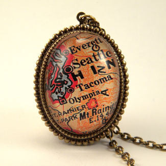 Old Seattle Vintage Map Pendant Necklace