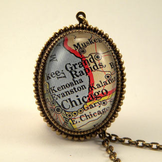 Old Chicago Vintage Map Jewelry