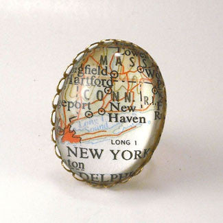 New York City Map Cocktail Ring