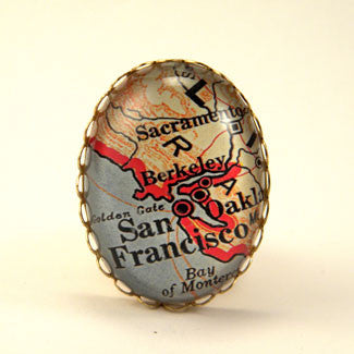 Old San Francisco Map Cocktail Ring