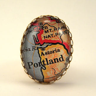Old Portland Oregon Map - Way Out West Cocktail Ring
