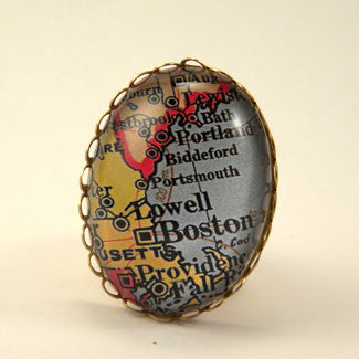 Old Boston Vintage Map Cocktail Ring