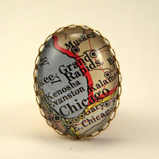 Old Chicago Vintage Map Cocktail Ring