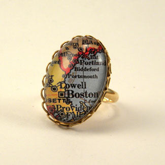 Old Boston Vintage Map Petite Ring