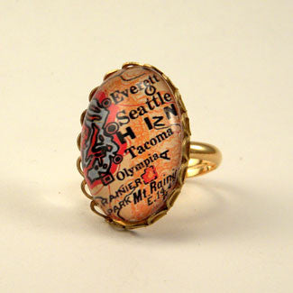 Old Seattle Vintage Map Petite Ring
