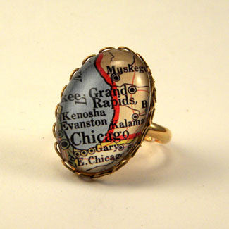 Old Chicago Vintage Map Petite Ring