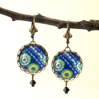 Blue Lagoon Tropical Deep Blue Sea Earrings