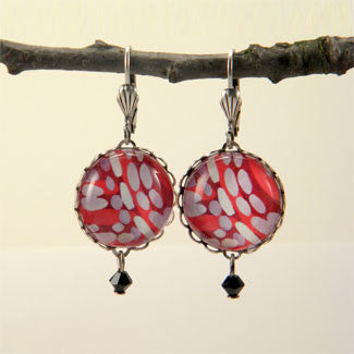 Raspberry Truffle Geometric Shapes and Patterns Earrings