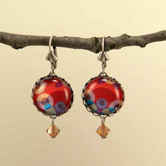 Kaleidoscope Silver Plate Earrings