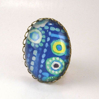 Blue Lagoon Tropical Deep Blue Sea Cocktail Ring