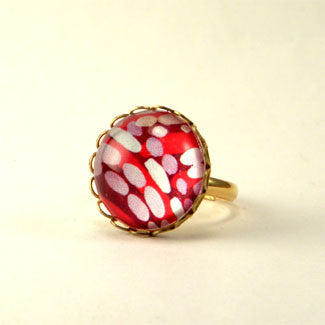 Raspberry Truffle Geometric Shapes and Patterns Petite Ring