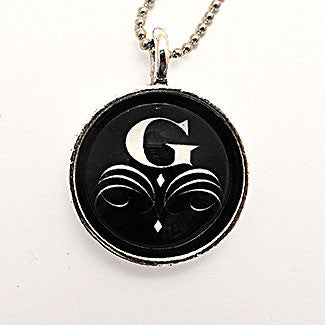 Monogram - Small Sterling Silver Plate White Flourish Letter with Black Background Necklace