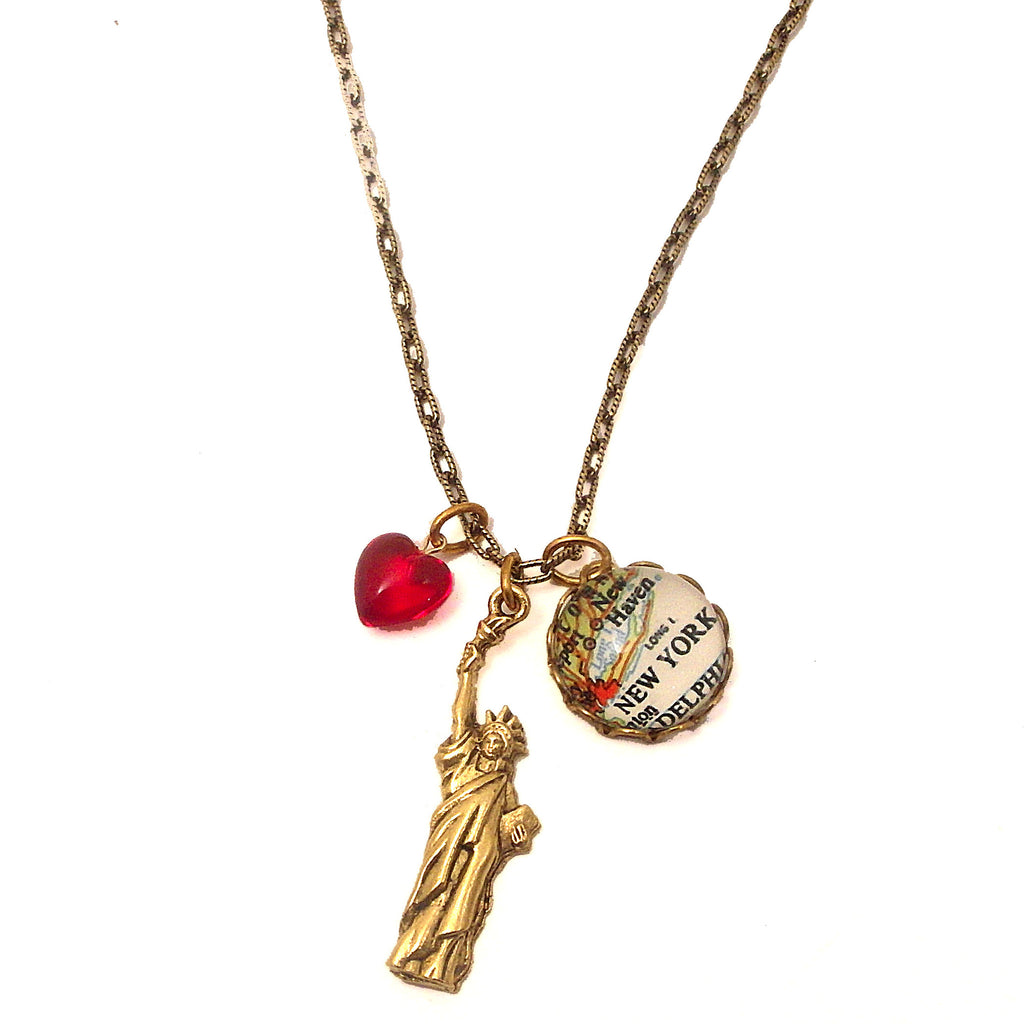 New York Map, Statue of Liberty with Red Heart Bead Charm Necklace