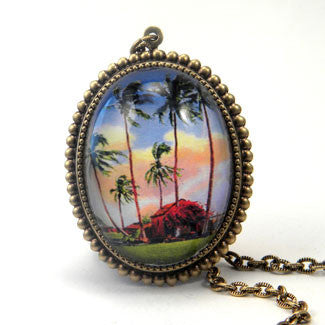Little Grass Shack - Tropical Living Deluxe Pendant Necklace