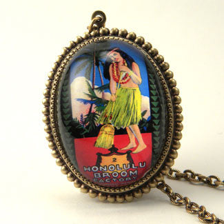 Honolulu Broom - Vintage Hawaiian Ad Illustration Pendant Necklace