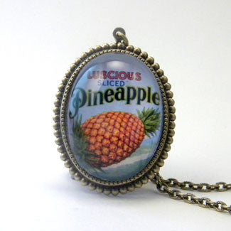 Luscious Pineapple - Tropical Fruit Pendant Necklace