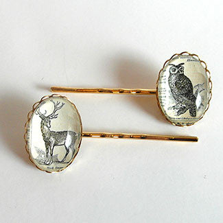Wise Old Owl Vintage Engraving Hairpin Set