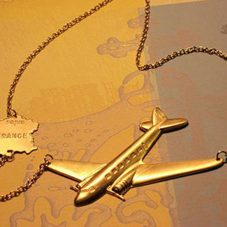 The Parisian Get Away Airplane and French Map Charm Necklace