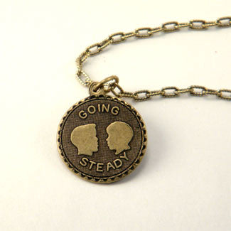Going Steady Medallion with Love Charm and Red Heart Bracelet or Necklace