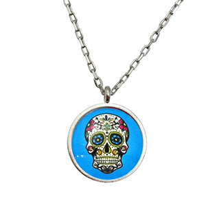 Calavera, Sugar Skull, Day of the Dead Necklace in 2 Settings and 3 Colors also available in Earrings