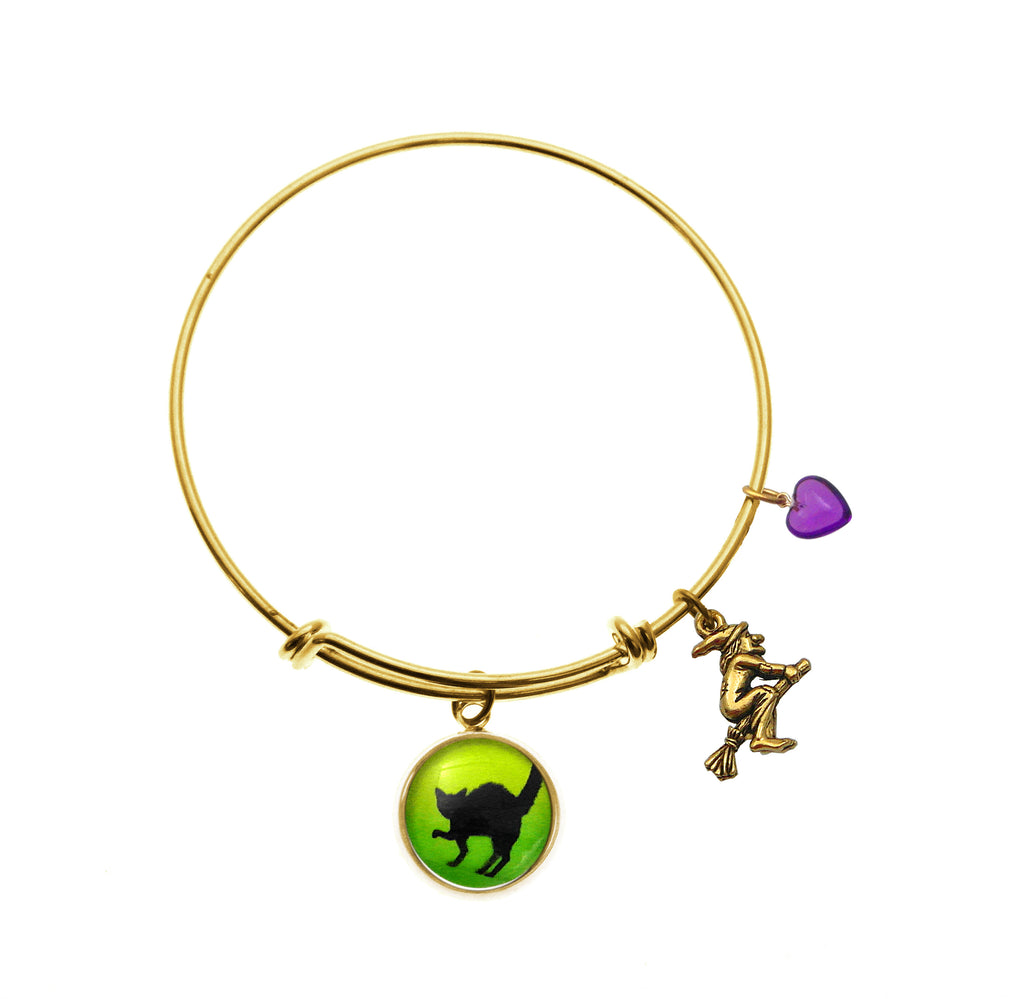 Black Black Cat with Flying Witch and Purple Heart Bead Bracelet