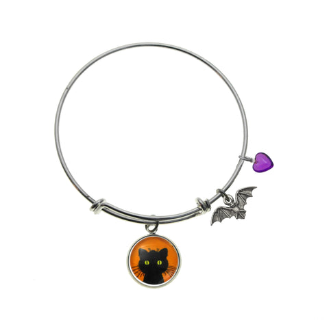Green Eyed Black Cat with Bat Charm and Purple Heart Bead in Bracelets, Necklaces and Earrings