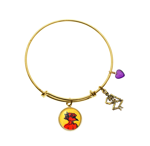 Red Hot Devil with Skeleton Charm and Purple Heart Bead Charm Bracelet
