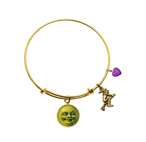 Man in the Moon Face with Flying Witch Charm Charm and Purple Heart Bracelet