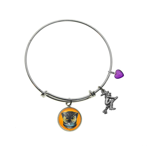 Spooky Owl with Flying Witch Charm and Purple Heart Bead Bracelet