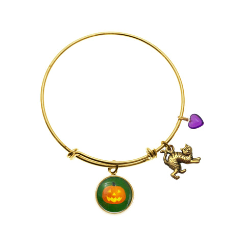 Jack O Lantern with Cat Charm and Purple Heart Bead Bracelet