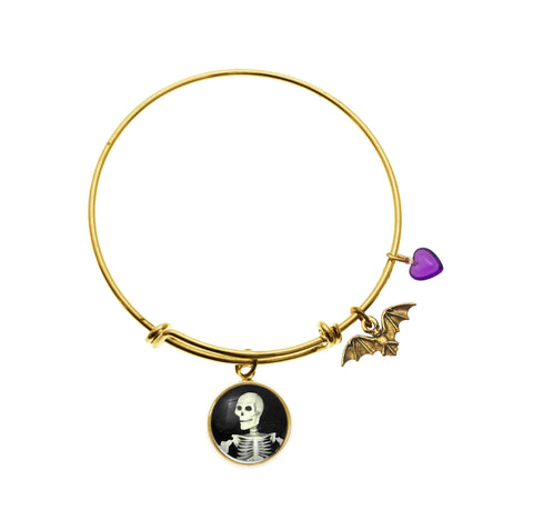 Smiling Skeleton with Bat Charm and Purple Heart Bead Adjustable Bracelets