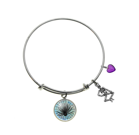 Spider in Web with Skeleton Charm and Purple Heart Bracelet