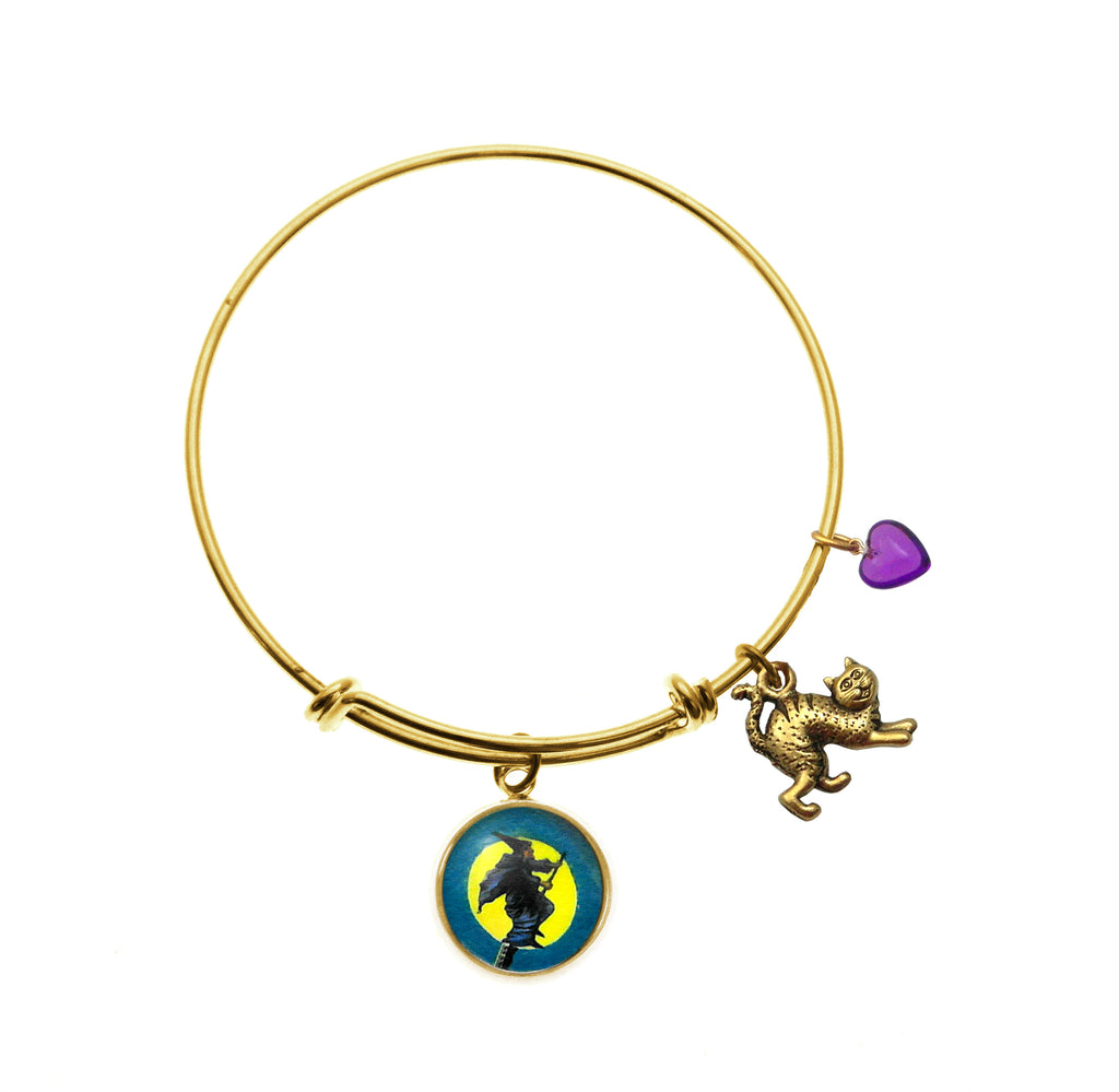 Flying Witch with Scary Cat Charm and Purple Heart Bead Charm Bracelet