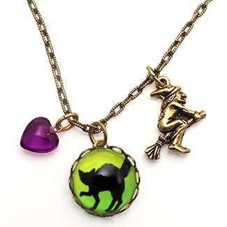 Black Cat Necklace Charm Necklace with Flying Witch and Purple Heart Bead