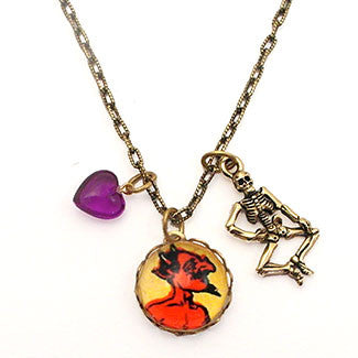 Red Hot Devil with Skeleton Charm and Purple Heart Bead Charm Necklace