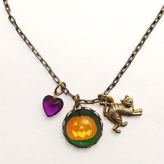 Jack O Lantern with Cat Charm and Purple Heart Bead Charm or Simple Silver Necklace