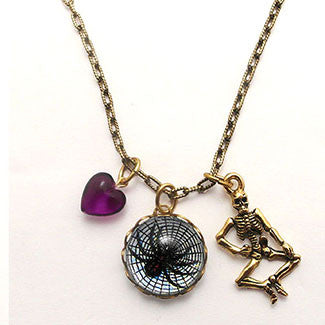Spider in Web with Skeleton Charm and Purple Heart Charm Necklace