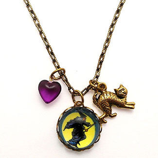 Flying Witch with Scarey Cat Charm and Purple Heart Bead Necklace