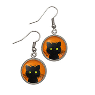 Green Eyed Black Cat Contemporary Settings Earrings