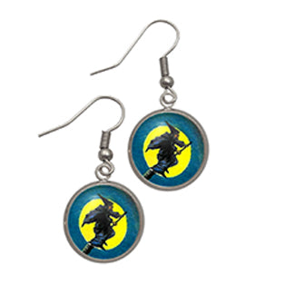 Flying Witch Earrings Contemporary Setting