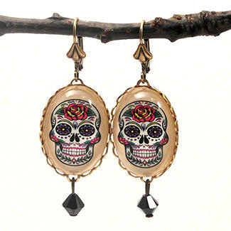 Calavera Sugar Skull Day of the Dead Oval Earrings