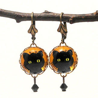 Green Eyed Black Cat 15mm Round Earrings