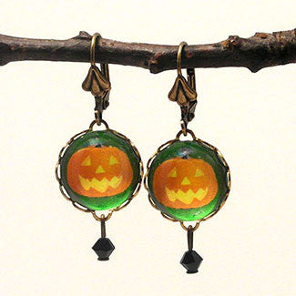 Jack O Lantern Pumpkin Earrings