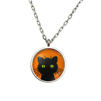 Green Eyed Black Cat Contemporary Style Necklace